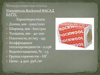 Плиты минераловатные фасад баттс rockwool технические характеристики